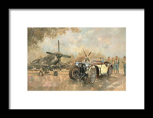 Vehicle; Airplane; Aeroplane; Plane; Military; Airforce; Vintage Car; Planes; Aeroplanes; Airplanes; Classic Cars; Auto; Spitfire Framed Print featuring the painting Cream Cracker MG 4 Spitfires by Peter Miller