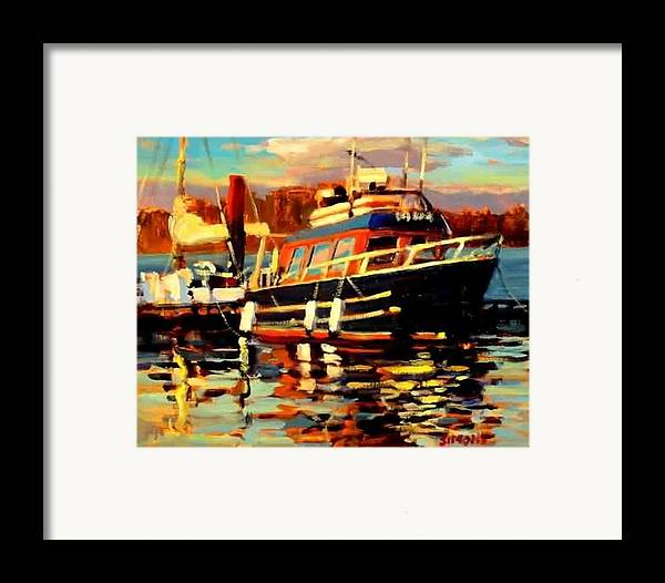 Boat Paintings Framed Print featuring the painting Cruiser by Brian Simons