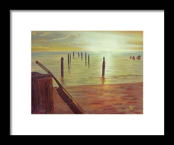 Seascape Framed Print featuring the painting Cuatro Sunset by Tony Rodriguez