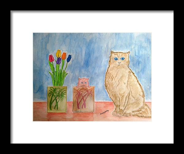 Vase Framed Print featuring the painting Cute And Cuddly by Soumyajit Dey
