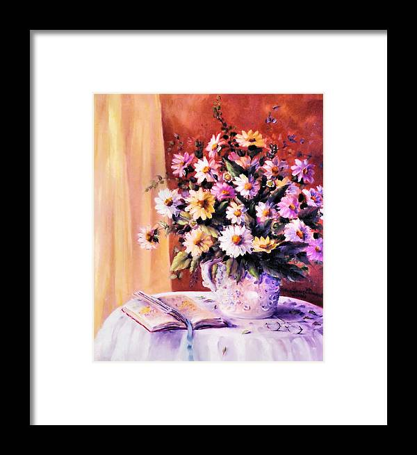 Flowers Framed Print featuring the painting Daisies by Ellen Lerner ODonnell