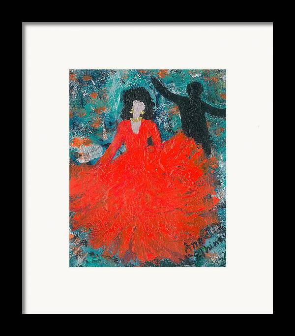 Women Framed Print featuring the painting Dancing Joyfully With Or Without Ned by Annette McElhiney