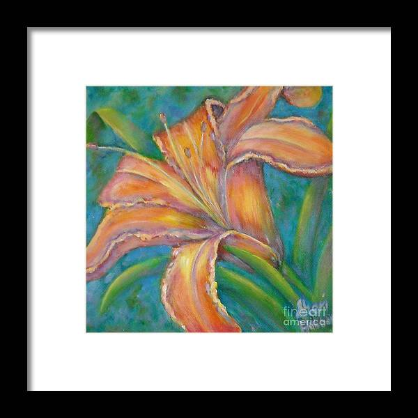 Day Framed Print featuring the painting Day Lily by Sheri Hubbard