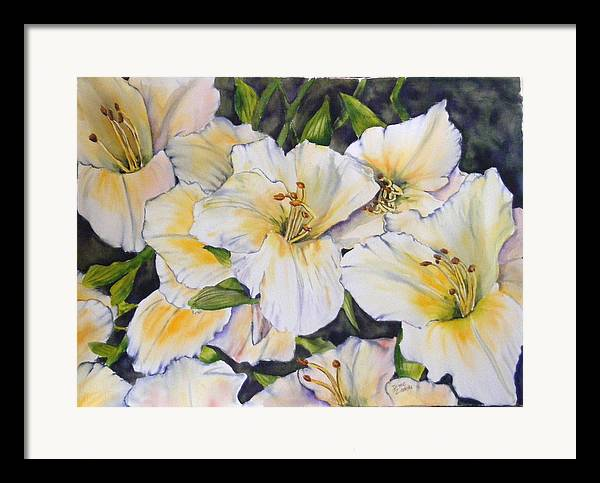 Floral Framed Print featuring the painting Daylilies by Diane Ziemski