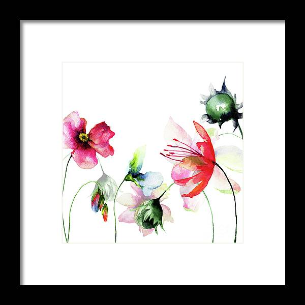 Flower Framed Print featuring the painting Decorative Wild Flowers by Regina Jershova