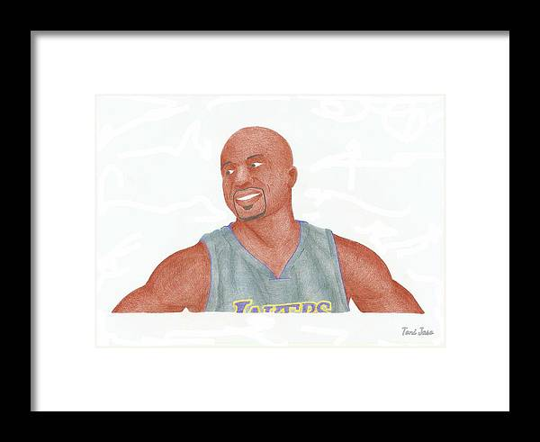 Derek Fisher Framed Print featuring the drawing Derek Fisher by Toni Jaso