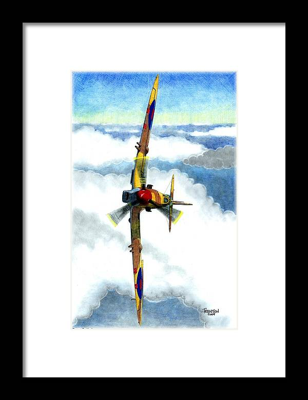 Aircraft Framed Print featuring the drawing Desert Spitfire by Trenton Hill