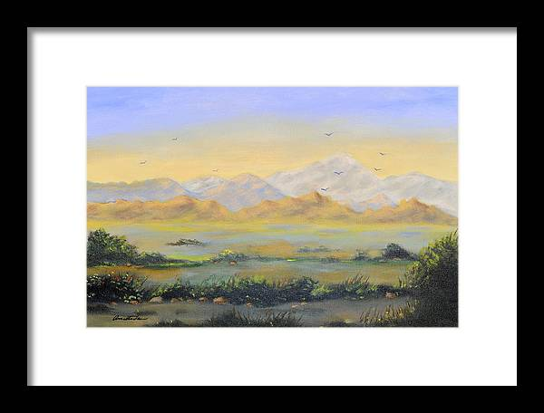 Landscape Framed Print featuring the painting Desert Sunrise by Annette Tan