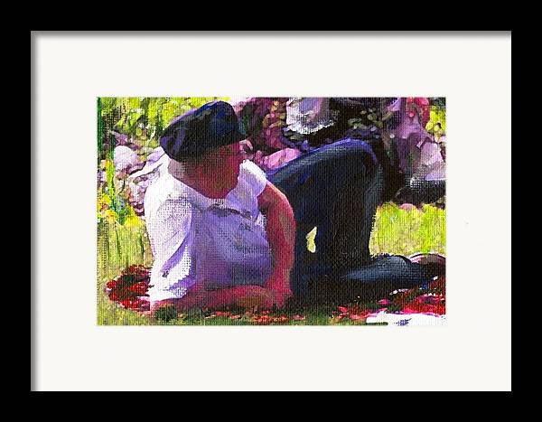 Lake Framed Print featuring the painting Detail Of Picnic By The Lake by Randy Sprout