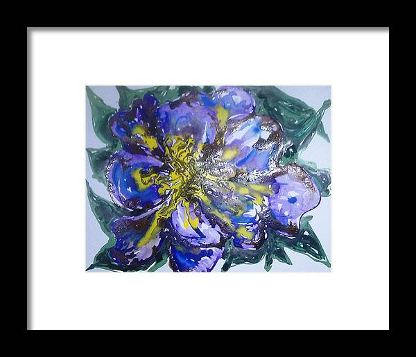 Abstract Framed Print featuring the painting Digital Flower Painting by Baljit Chadha