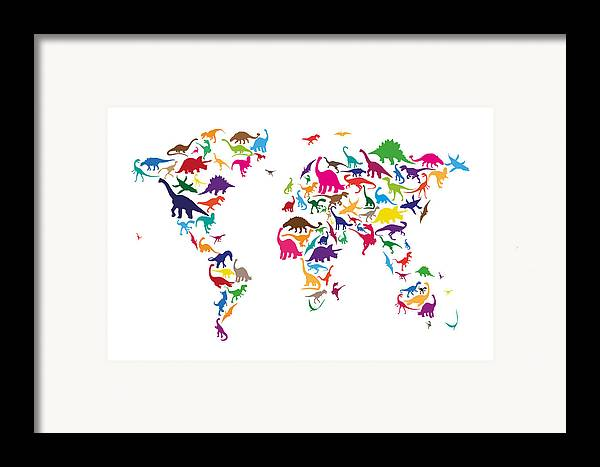 World Map Framed Print featuring the digital art Dinosaur Map Of The World Map by Michael Tompsett