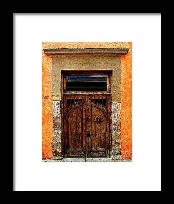 Tlaquepaque Framed Print featuring the photograph Door In Terracotta by Mexicolors Art Photography