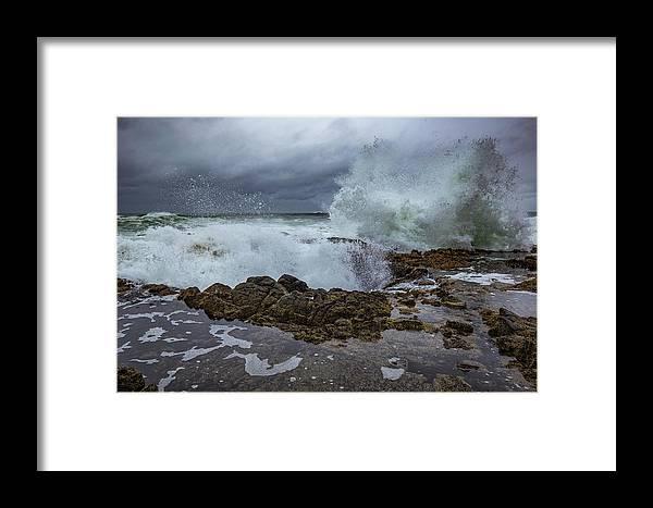 Oregon Coast Framed Print featuring the photograph Double Splash by Ashlyn Gehrett