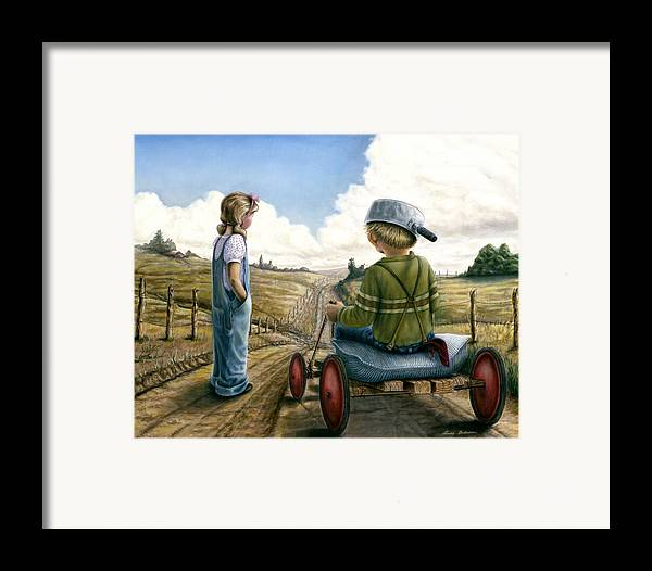 Children Playing Framed Print featuring the painting Down Hill Racer by Lance Anderson
