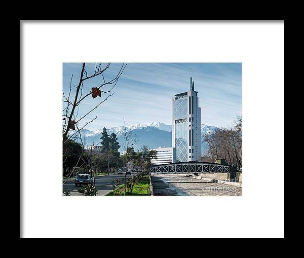 Andes Framed Print featuring the photograph Downtown Street In Santiago De Chile City And Andes Mountains by Jacek Malipan