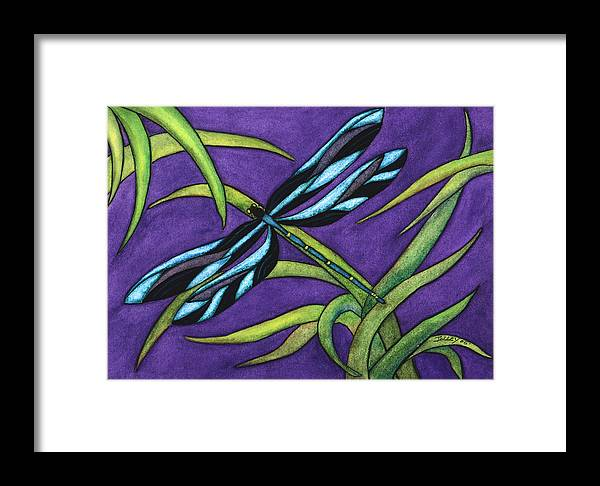 Watercolor Framed Print featuring the painting Dragonfly by Stephanie Jolley