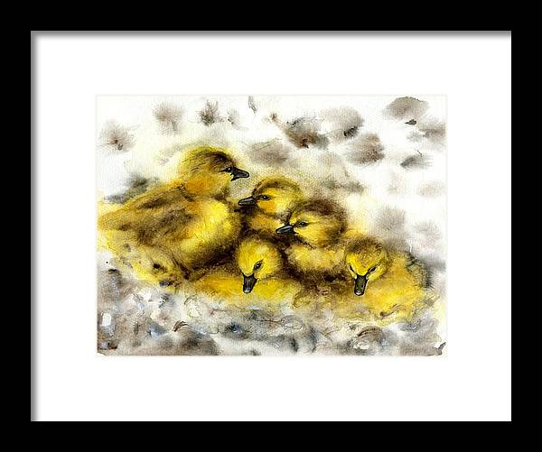 Ducklings Framed Print featuring the painting Ducklings by Scott Manning