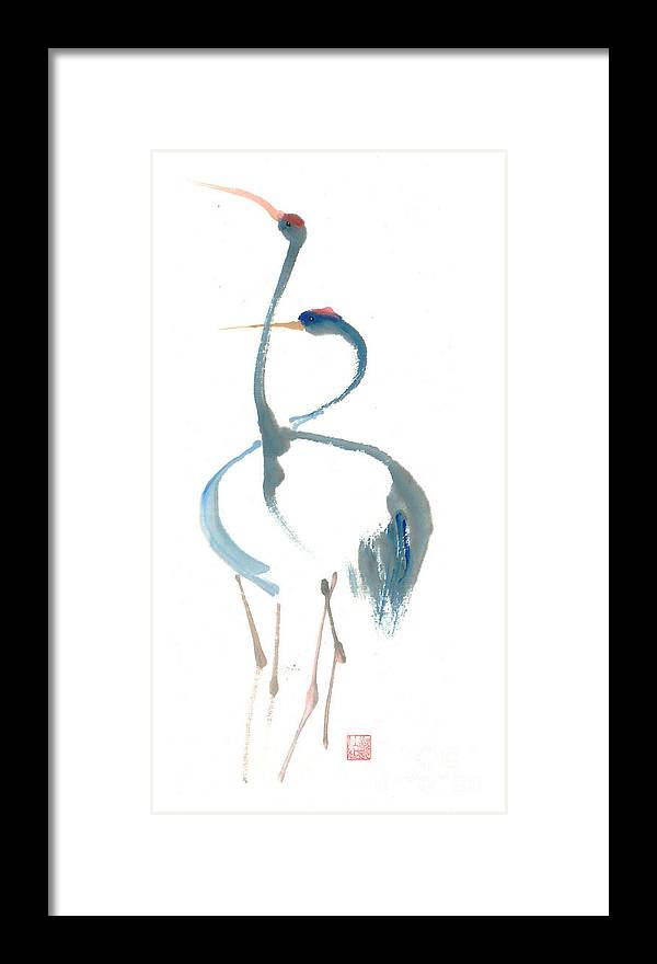 A Pair Of Cranes Dancing Framed Print featuring the painting Duet by Mui-Joo Wee