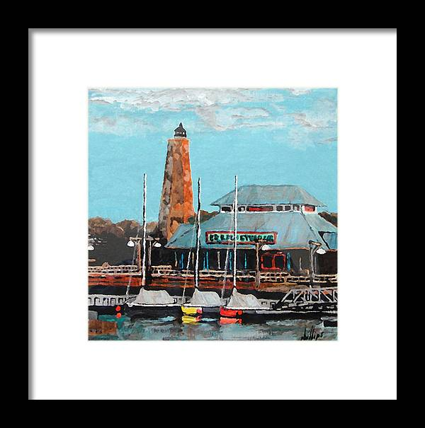 Restaurant Framed Print featuring the painting Eb And Flo's Steamhouse by Jim Phillips
