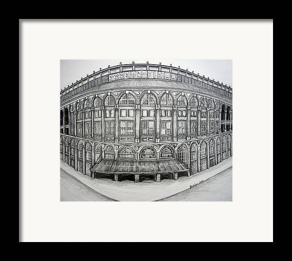 Ebbets Field Framed Print featuring the drawing Ebbets Field by Juliana Dube