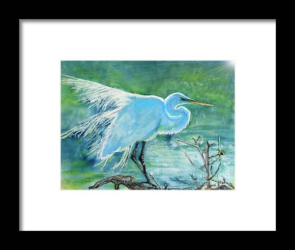 Egret Framed Print featuring the painting Egret in the Summer Breeze by Dawn Johansen