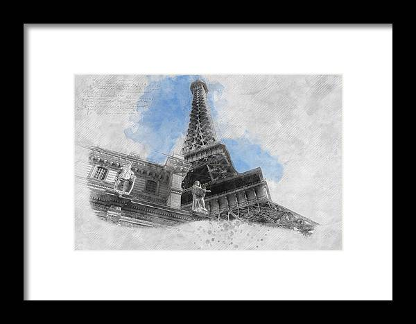 Asar Studios Framed Print featuring the painting Eiffel Tower Of Paris by Asar Studios