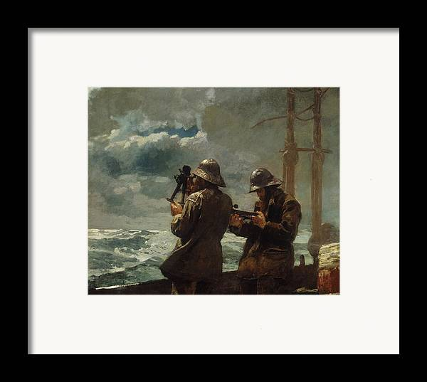 Eight Bells By Winslow Homer (oil On Canvas) Sea Framed Print featuring the painting Eight Bells by Winslow Homer