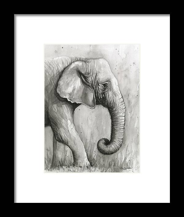 Elephant Watercolor Framed Print by Olga Shvartsur