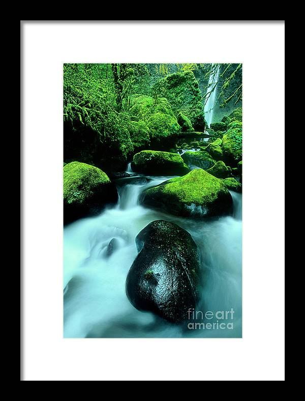 Dave Welling Framed Print featuring the photograph Elowah Falls Columbia River Gorge National Scenic Area Oregon by Dave Welling
