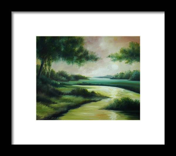 Bright Clouds; Sunsets; Reflections; Ocean; Water; Purple; Orange; Storms; Lightning; Contemporary; Abstract; Realism; James Christopher Hill; James Hill Studios; James C. Hilll; Forest; Flowers; Trees; Green; River; Water Framed Print featuring the painting Emerald Forest by James Christopher Hill