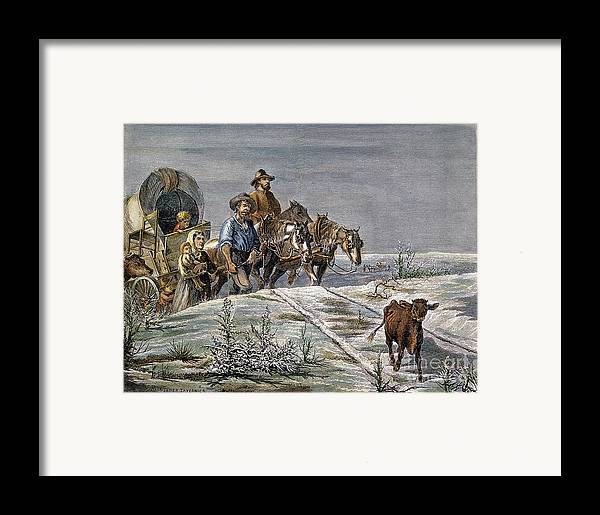 1874 Framed Print featuring the photograph Emigrants, 1874 by Granger