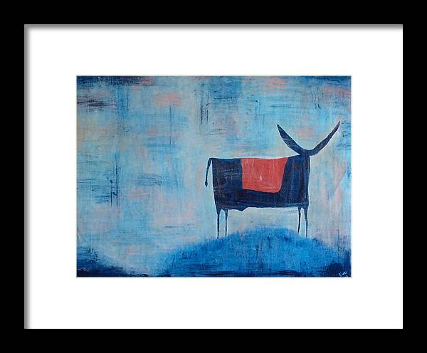 Bull Framed Print featuring the painting Enamorado De La Luna by Eve Schambach