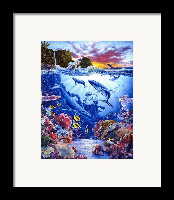Dolphin Framed Print featuring the painting Enchanted Sea by Daniel Bergren