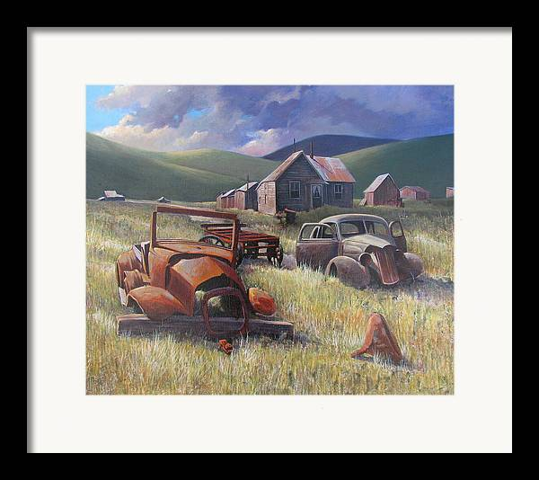 Old Cars Mixed Media Framed Print featuring the painting Eternal Race by Don Trout