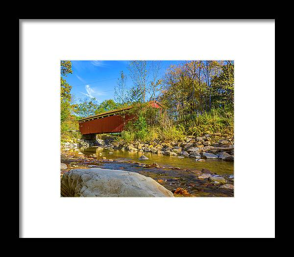 America Framed Print featuring the photograph Everett Covered Bridge by Jack R Perry