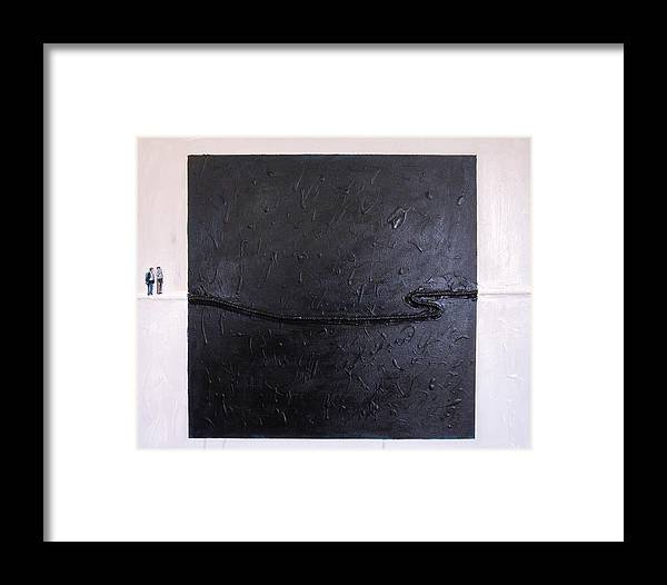 Modern Art Framed Print featuring the painting Explaining Modern Art Standing On An Elegant Line by Kevin Callahan