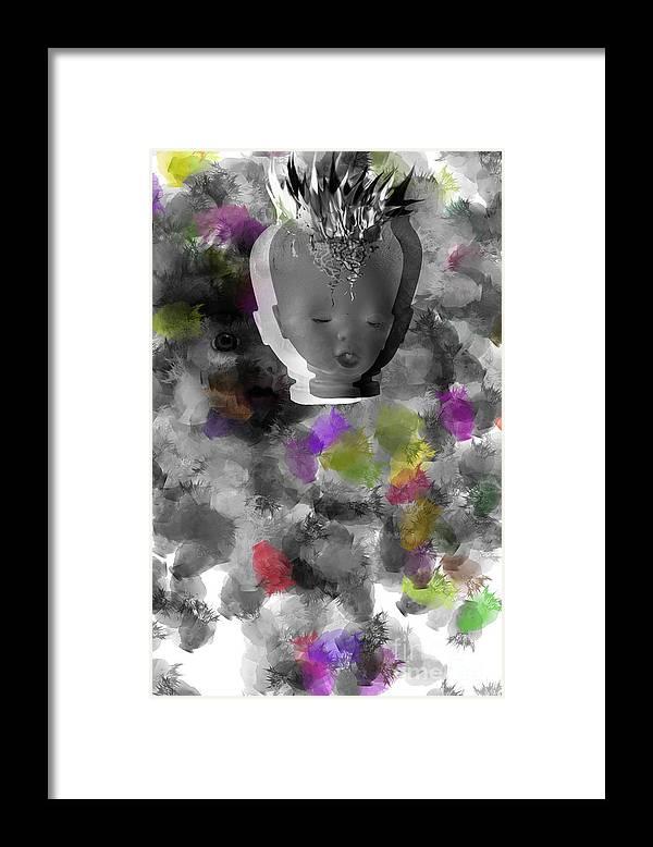 Ok Framed Print featuring the digital art Exploding Head by Michal Boubin