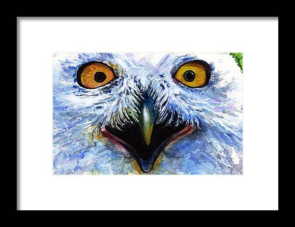Eye Framed Print featuring the painting Eyes Of Owls No. 15 by John D Benson