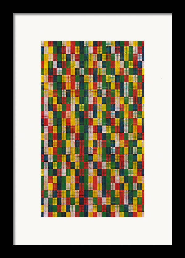 Abstract Pattern White Yellow Green Red Framed Print featuring the painting Fac5vertical by Joan De Bot