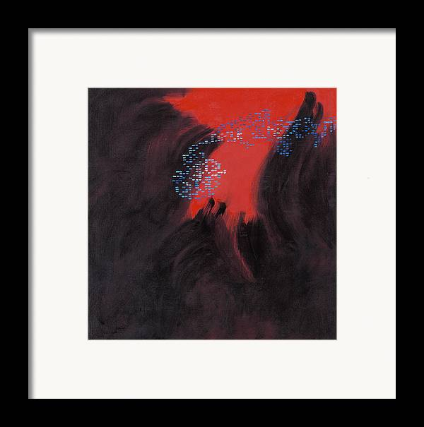 Abstract Framed Print featuring the painting Fac7-volcano by Joan De Bot