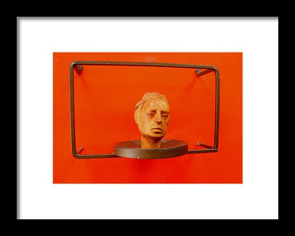 Face Framed Print featuring the sculpture Face by Victor Amor