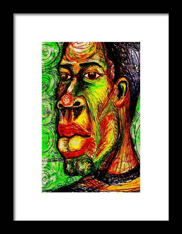 Maliksart Framed Print featuring the painting Faces Unseen Series by Malik Seneferu