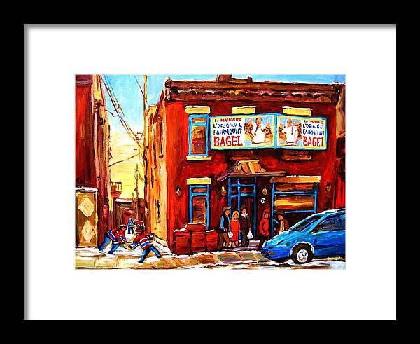 Hockey Framed Print featuring the painting Fairmount Bagel In Winter by Carole Spandau