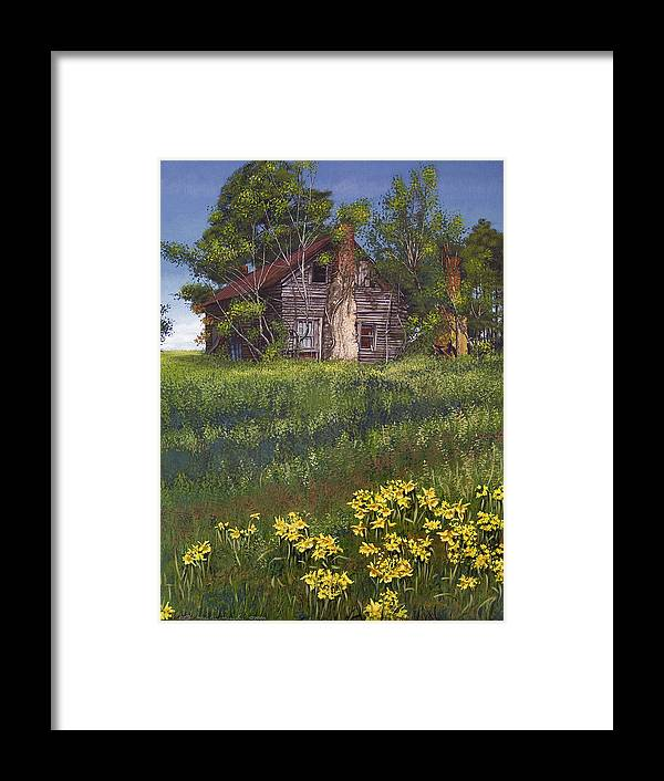 Landscape Framed Print featuring the painting Fairplay Farmhouse by Peter Muzyka