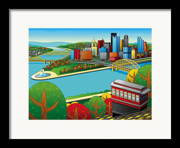 Pittsburgh Framed Print featuring the digital art Fall From Above Rendered by Ron Magnes