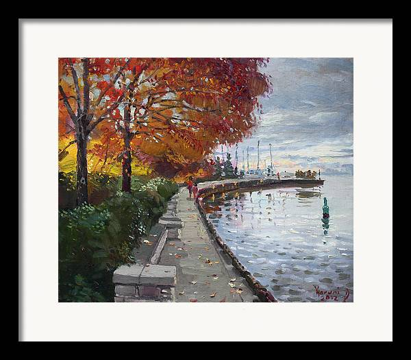 Port Credit Framed Print featuring the painting Fall In Port Credit On by Ylli Haruni