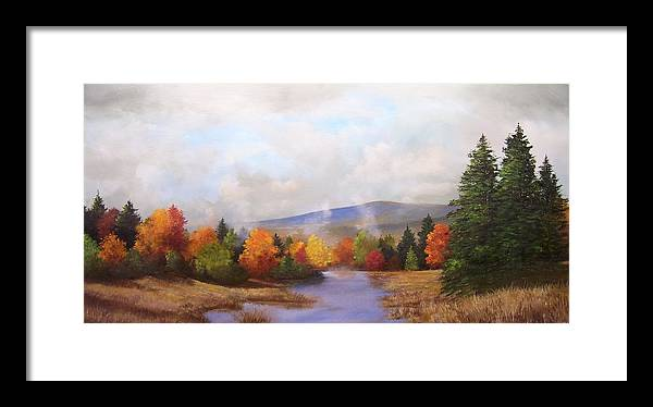 Fall Framed Print featuring the painting Fall Pond Scene by Ken Ahlering