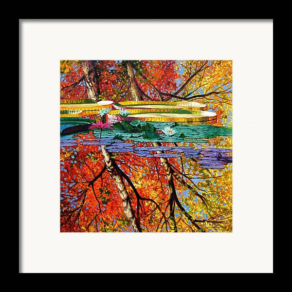 Water Lilies Framed Print featuring the painting Fall Reflections by John Lautermilch
