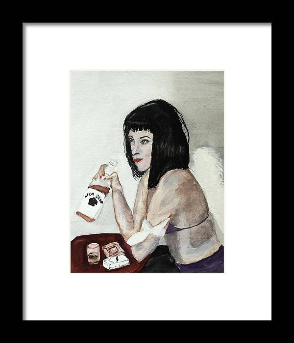 Girl Woman Angel Drunk Drink Alcohol Cigarettes Party Jim Beam Bourbon Ashtray Wings Framed Print featuring the painting Fallen Angel by Cathy Jourdan