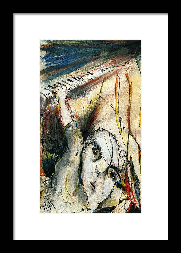 Music Framed Print featuring the drawing Falling by Tom Norton
